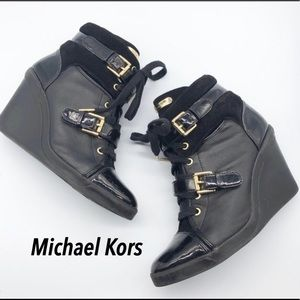 Michael Kors Black Leather Gold Wedge Sneakers 10